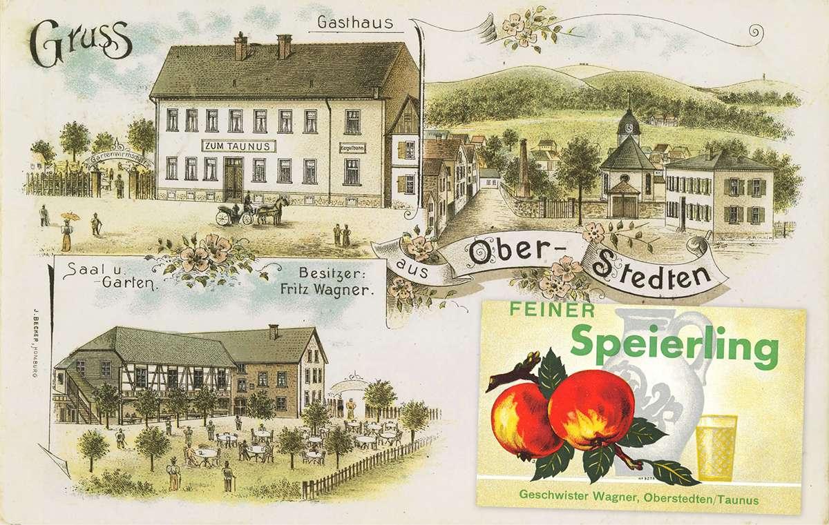 "Alte Postkarte mit dem Lokal ""Tante Anna\"" Anfang des letzten Jahrhunderts"
